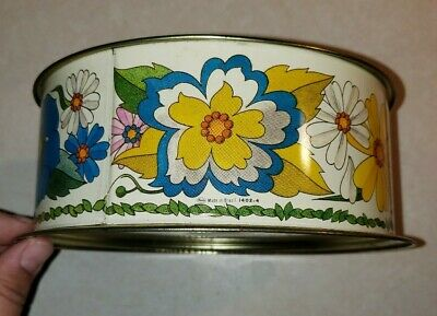 Vintage Biscuit Cookie Tin Can Red Yellow Gold Floral Flowers Made in Brazil