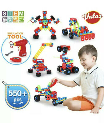 VATOS Building Toys, STEM Toys 550 Piece Creative Construction Engineering Le...