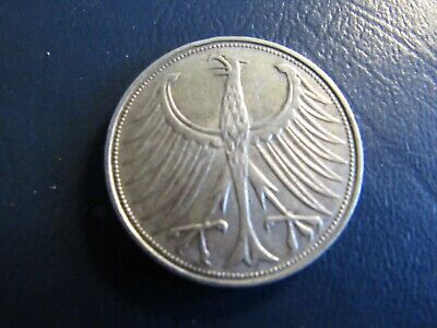 1951 G Germany 5 Mark lettered edge silver                            004