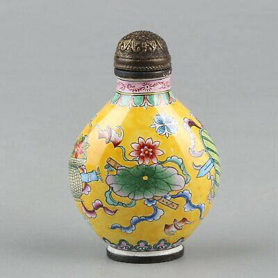Chinese Exquisite Handmade Buddha Eight Treasures copper Enamel Snuff Bottle