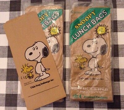 Carrousel Snoopy & Woodstock Brown Paper Lunch Party Bags 50 New/old Open Stock