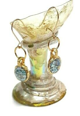 Roman Glass Earrings Gold P.Fragment Ancient 200B.C Round Dangle Bluish Patina