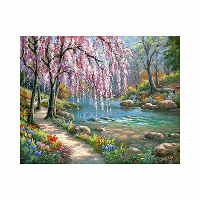 DIY Canvas Paint By Numbers Kit Oil Painting  Spring Floral Frameless Art