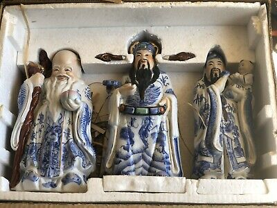 3 LARGE WISE OLD MEN antique PORCELAIN chinese statues health happy prosperity