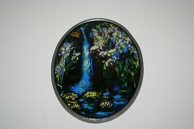 Vintage Louis C. Tiffany Stained Glass Panel By Glassmasters 1989 Made In USA