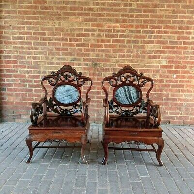 Pair  Chinese Carved Rosewood Marble  Armchairs