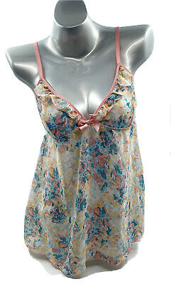 Passion Forever Camisole Nightie Size Medium Pink Blue Spaghetti Strap Sheer