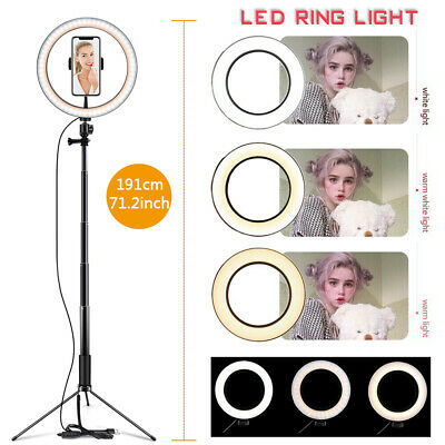 """10"""" LED Ring Light Lamp Tripod Stand Kit for YouTube Video Live Stream Dimmable"""