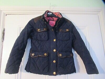 5-6 yrs: NEXT navy blue quilted jacket/coat: Spotty lining/Faux leather trim: