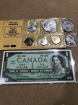 1967 Canadian 99% Silver Mint Set And Medallion+ Uncirculated Note