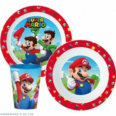 Boys Kids Childrens Toddler Super Mario      3 Piece Dinner Set Plate Bowl Cup