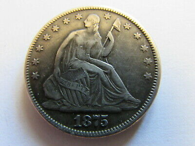 1875 Seated Liberty Half Dollar Philadelphia Mint 50 Cents Silver Coin 50c
