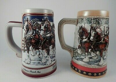 Budweiser Collector's Series Beer Steins 1988 & 1989 Lot of 2 Vintage Clydesdale