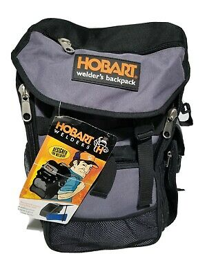 Hobart Welders Backpack Black Gray Rugged Canvas Many Pockets Padded Straps NWT