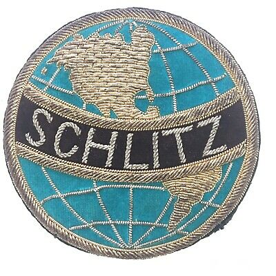 Vtg Schlitz Beer Brewery Gold Tone Bullion Wire Thread Logo Patch Jacket PIN