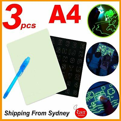 A4 Light Up Drawing Board Sketchpad Painting Pen Sticker Kit Kids Developing Toy
