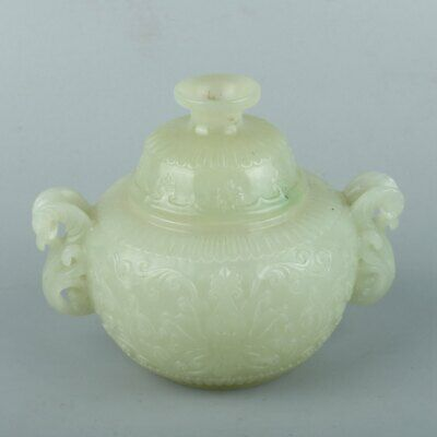 Chinese Exquisite Hand carved Hetian jade pot