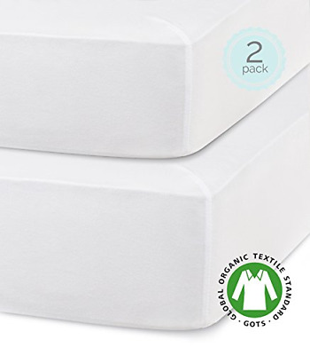 Fitted Crib Sheets Organic Turkish Cotton Hypoallergenic White 2 Packs 28 X 52