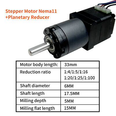L33mm 0.6A Stepper Motor Nema11 Planetary Gearbox Geared Speed Reducer Kit
