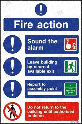 GFXFACT024 Fire Action Emergency Procedure v3 Sign Signage Vinyl Poster
