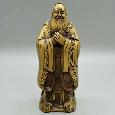 "7.9"" Collection China Bronze Confucianists Rhymist Confucius Kongzi Sage Statue"