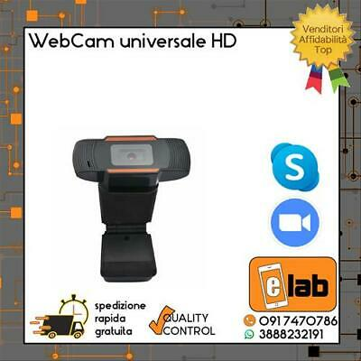 Webcam Universale Con Microfono Videocamera Hd Usb 720P Per Pc Smart Work Skype