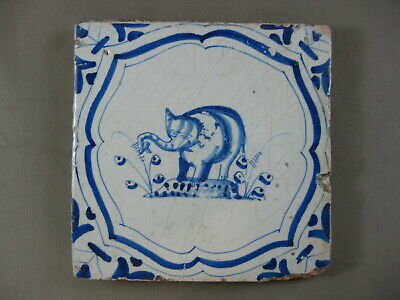 antike Tier Fliese Elefant Elefanten Akkoladenrahmung Tegel Dutch Tile 17 Jh.