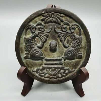 """4.4"""" Collect China Bronze Ancient Decorative Two Fish Lotus Flower Bronze Mirror"""