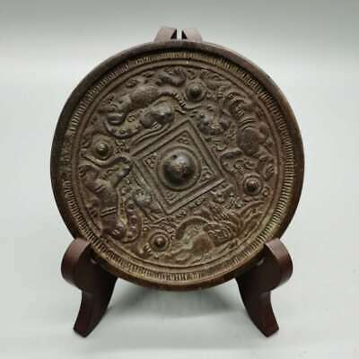 Collect China Bronze Ancient Four God Beast Exorcise Evil Spirits Bronze Mirror