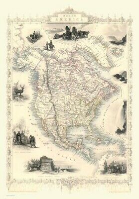 Country Map of North America By John Tallis Circa 1851