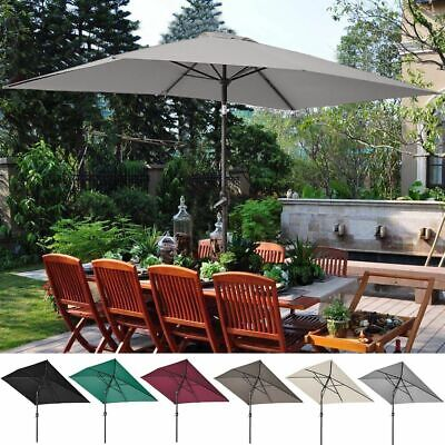 Outdoor Sun Shade Umbrella Patio Garden Parasol Rectangular Crank Tilt 3x2 m