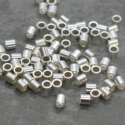 2mm//2.5mm or 2mm x 1mm gold plated crimp beads tube stopper