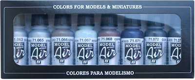 Metallic Color Set: 8 Airbrush Paints for model and hobby (Vallejo 71176)