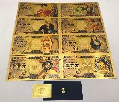 Collection complète One Piece Yen 5000000 lucky gold card NEW CARDS 7+5 news !!