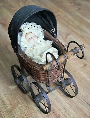 "Vintage Baby Doll Stroller Buggy Carriage Wicker w/ Metal Wheels 15"" x 12"" x 7"""