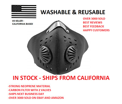 Premium Neoprene Face Mask With Carbon Filter ~ Washable, Reusable ~ Mouth Cover