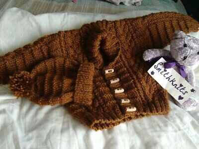 Hand Knitted Boys Caramel Brown Aran Cardigan and Hat 9/12 months app, chest 20""