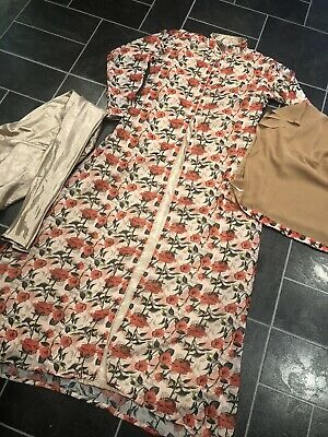 """Pakistani/Asian 4pcs Casual/party Long Dress Nude/Rose gold Pretty Floral 40"""""""