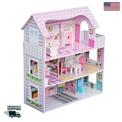 Large Size Doll House Girls Dream Play Wooden Playhouse Dollhouse