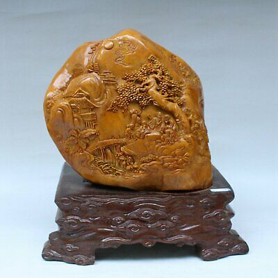 Chinese Exquisite Hand carved landscape people carving Shoushan Stone statue