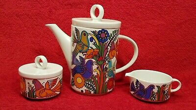 Villeroy & Boch Acapulco Coffee Pot Creamer Sugar 5 Piece Set Colorful Birds