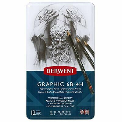 Derwent 34214  Graphic Medium Graphite Drawing Pencils, Set of 12, Professional