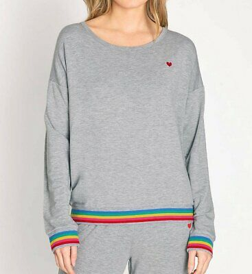 PJ Salvage RNRLLS1 Rainbow Lounge French Terry Long Sleeve Top (Heather Grey XL)