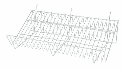 24 x 12 x 6 inch White Downslope Shelf - For Slatwall or Pegboard