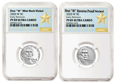 2020 First W Mint Proof + Reverse Proof Jefferson Nickel Set - Ngc Pf69 Er