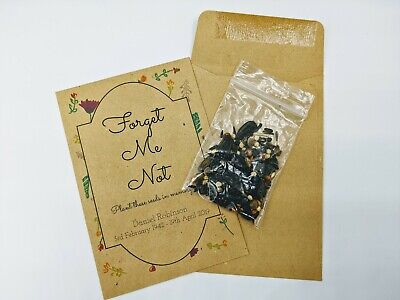 10 seed envelopes, funeral favours favors for memorial, forget-me-not,wildflower