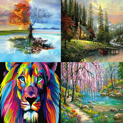Oil Painting By Numbers Kit Craft DIY Paint On Canvas Frameless Scenery UK