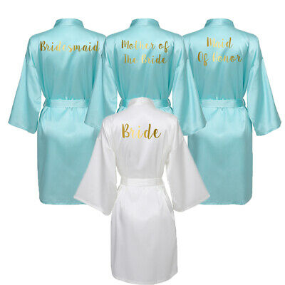 Satin Silk Robe Bride Bridesmaid Robes Wedding Bathrobe Women Sleepwear Blue