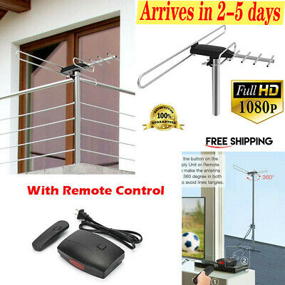 HDTV 1080P Outdoor Amplified Digital Antenna 360 Rotor HD TV UHF VHF FM 180 Mile