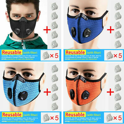 Outdoor Half Face Shield Activate Carbon Filter Anti Dust Mouth Cover+ 5×Filter